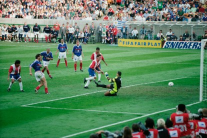 28 Jun 1998, Lens, France --- Laurent Blanc scoring the golden goal for France during a round of 16 match of 1998 FIFA World Cup against Paraguay. --- Image by © Olivier Prevosto/TempSport/Corbis